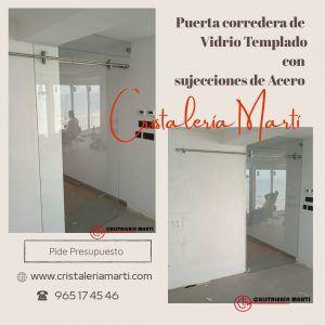 Puerta Corredera en Vidrio Templado www.cristaleriamarti.com cristaleria en alicante vidrios a medida